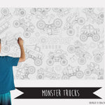 Monster Trucks Coloring Banner