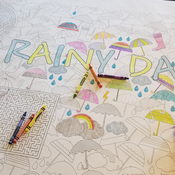 Rainy Day Table Top Coloring Banner