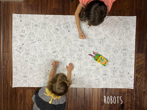 Robot Table Top Coloring Banner