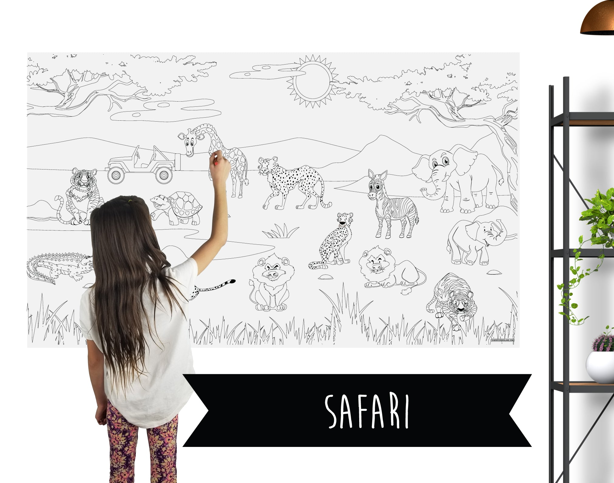 Safari Adventure Table Top Coloring Banner
