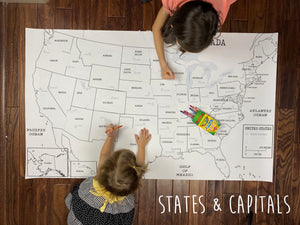 States & Capitals Coloring Banner