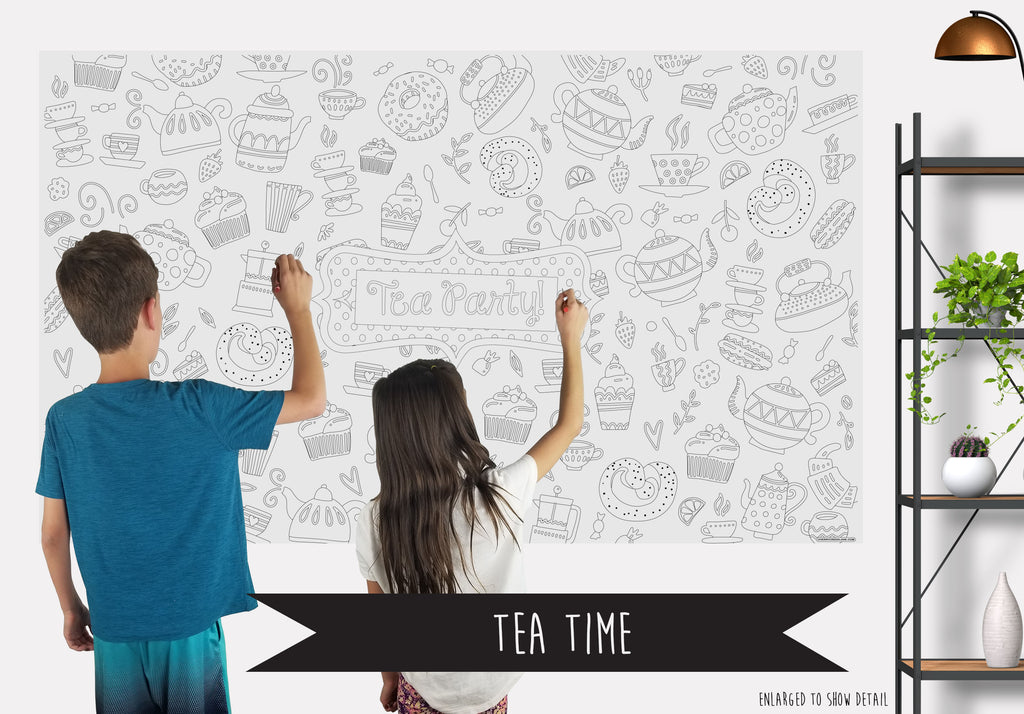Tea Time Table Top Coloring Banner