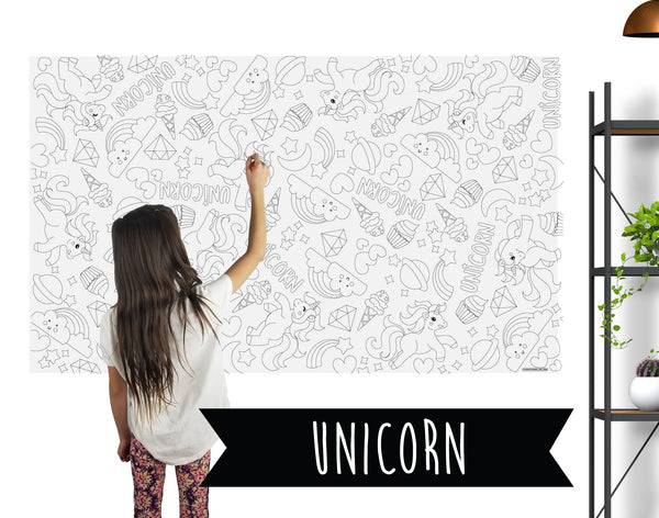 Unicorn Table Top Coloring Banner