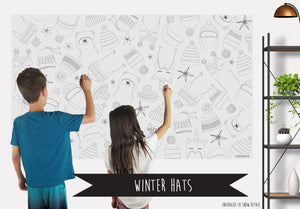Winter Hats Coloring Banner