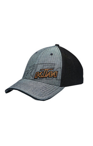 KTM ZIG ZAGS HAT BLACK/GREY ADULT LOGO ADJUSTABLE CAP