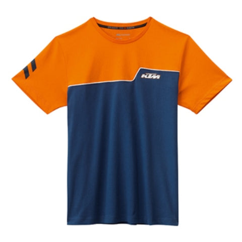 KTM FACTORY STYLE TEE ORANGE/BLUE ADULT LOGO T-SHIRT