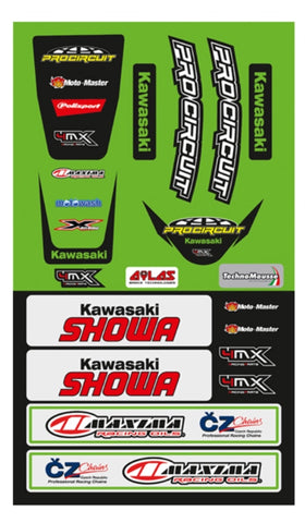 KAWASAKI FENDER DECAL KIT KX KLX UNIVERSAL FRONT & REAR FENDER STICKER KIT