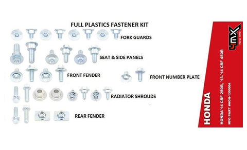4MX HONDA FENDER BODY BOLT KIT 32 PIECE PLASTIC FASTENERS KIT CRF 250/450 13-16