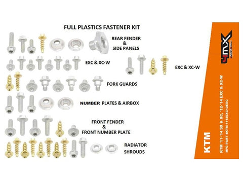 4MX KTM FENDER BODY BOLT KIT 54 PIECE PLASTIC FASTENERS KIT ALL MODELS 2011-2014