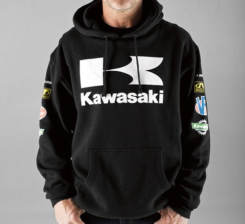 KAWASAKI RACE PULLOVER HOODY BLACK HOODED SWEATSHIRT