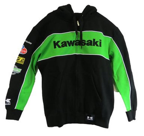 KAWASAKI RACE ZIP HOODIE MEN'S LOGO HOODED SWEAT SHIRT