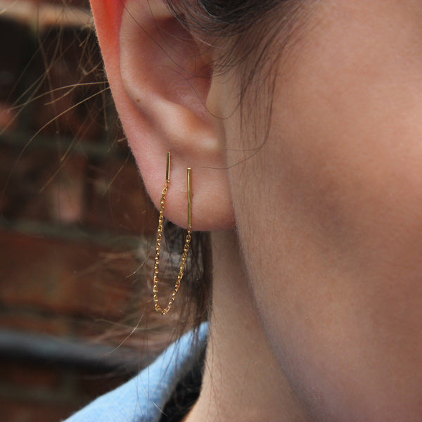 CHAINED LINES DOUBLE EARRING - Irena Chmura Jewellery