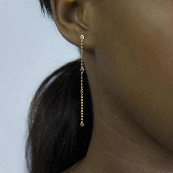 LONG DOTS & CHAIN EARRINGS - Irena Chmura Jewellery