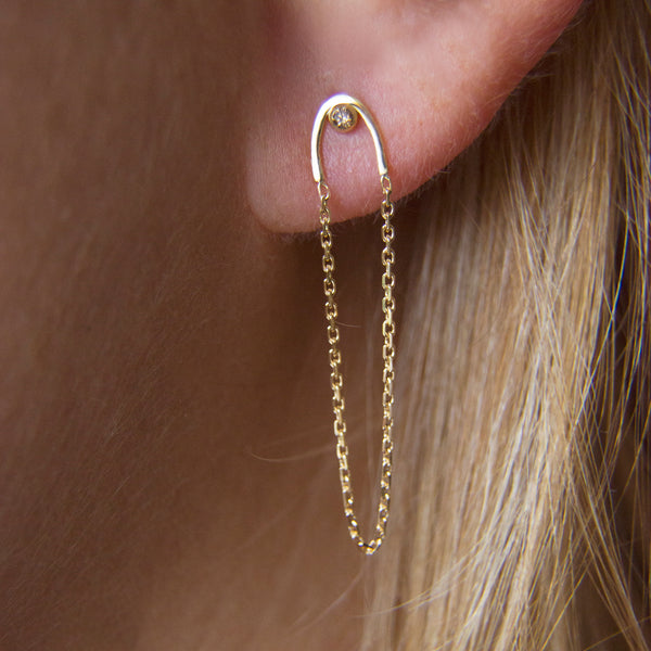 STORMY DIAMOND ARC & CHAIN EARRINGS
