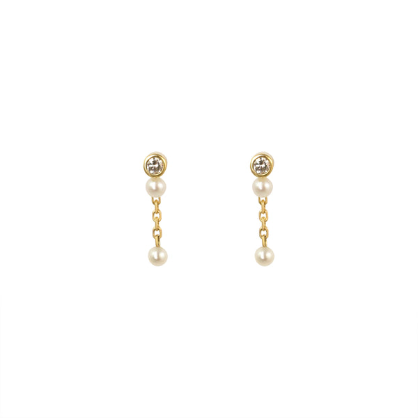 NYMPH DROP EARRING - DIAMOND & PEARLS