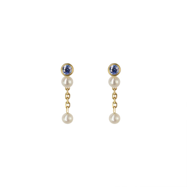 NYMPH DROP EARRING - BLUE SAPPHIRE & PEARLS