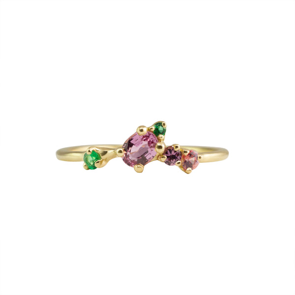 EIRYS RING - PINK SAPPHIRES AND EMERALDS - Irena Chmura Jewellery