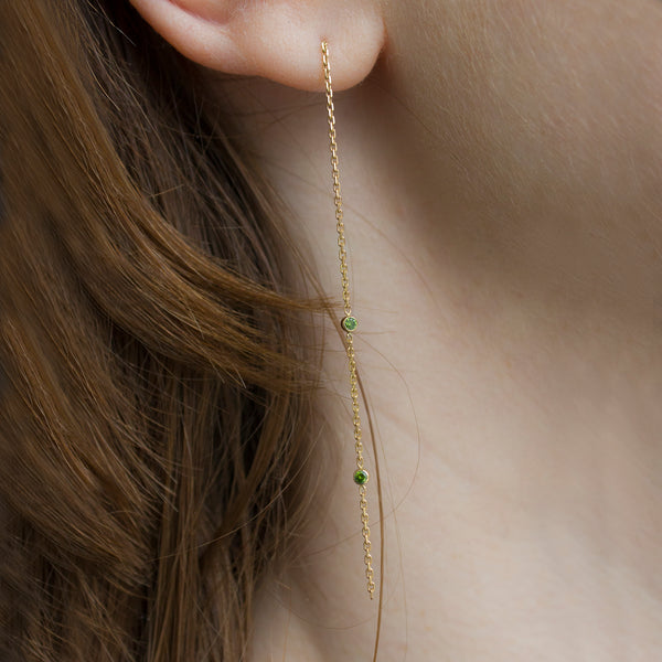 ELFIN DROP EARRINGS - 2 GREEN DIAMONDS - Irena Chmura Jewellery