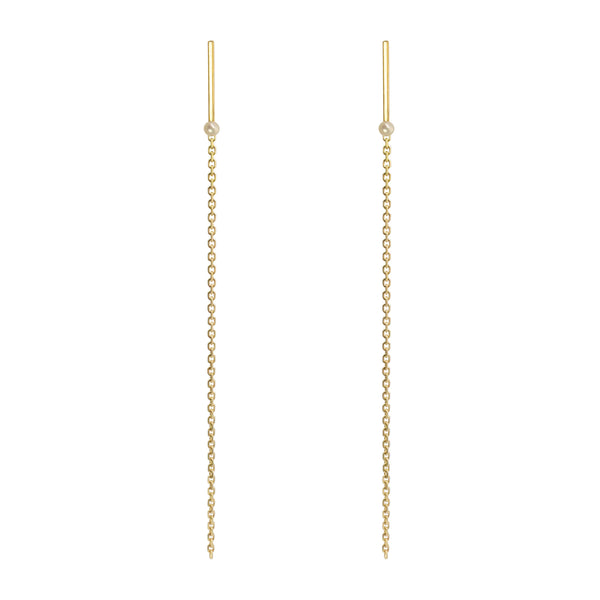 LEDA LINE & CHAIN LONG EARRING - Irena Chmura Jewellery