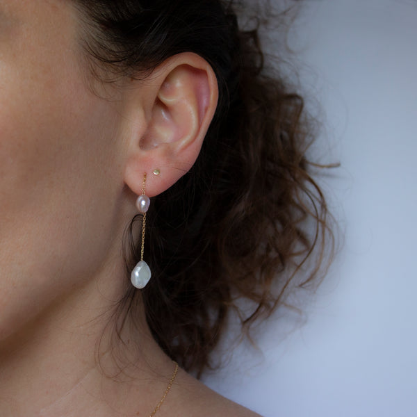MERMAID 2 PEARLS EARRING - Irena Chmura Jewellery