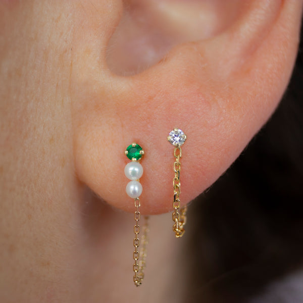 ELFIN EMERALD & 2 PEARLS CHAIN EARRING - Irena Chmura Jewellery