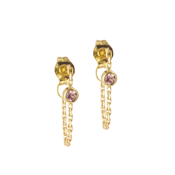 CANDY SOLITAIRE BLUSH SAPPHIRE EARRING - Irena Chmura Jewellery
