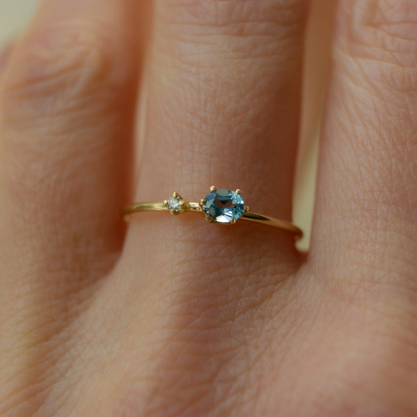 ICICLE AQUAMARINE AND DIAMOND RING - Irena Chmura Jewellery