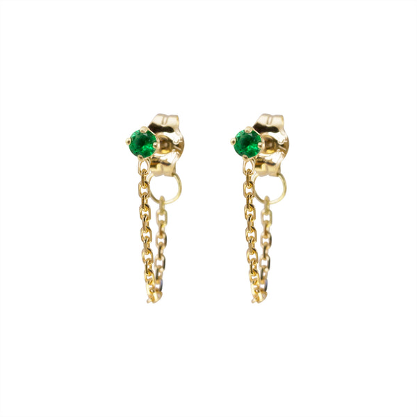 ELFIN EMERALD CHAIN EARRING