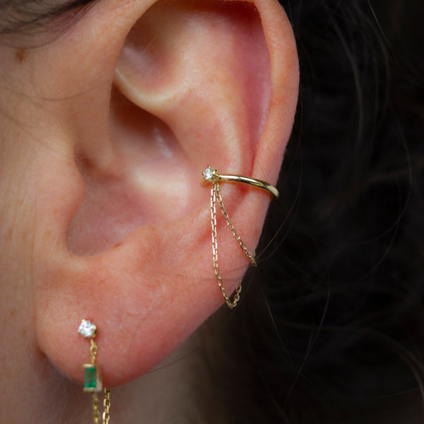 ICICLE DIAMOND CHAINED EAR CUFF
