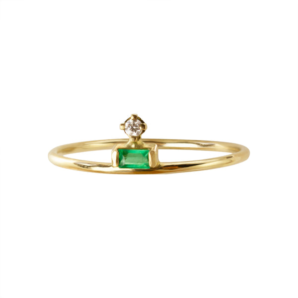 ELFIN PETITE TIARE RING - EMERALD AND DIAMOND