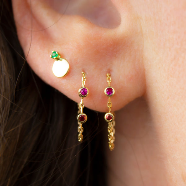CANDY SAPPHIRE EARRING - MAGENTA AND SCARLET SAPPHIRE