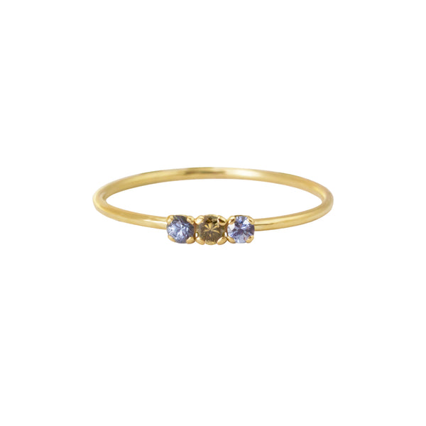AIRY RING - BLUE SAPPHIRES AND BROWN DIAMOND - Irena Chmura Jewellery