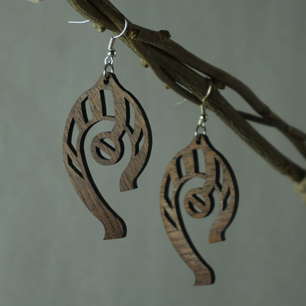 Abstract Earrings - Cherry(Shown), Maple, or Walnut