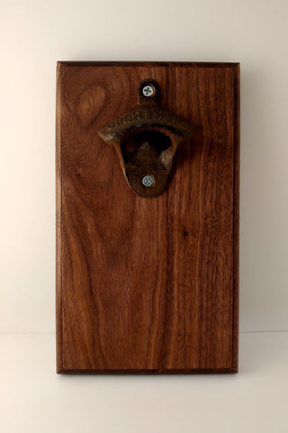 Walnut Bottle opener with magnetic catch