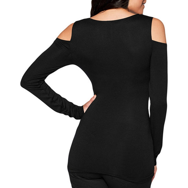Dmart7dealWomen Blusas Ladies Bodycon Off Shoulder Tee Tops Casual Long Sleeve Sexy V Neck Solid Plus Size