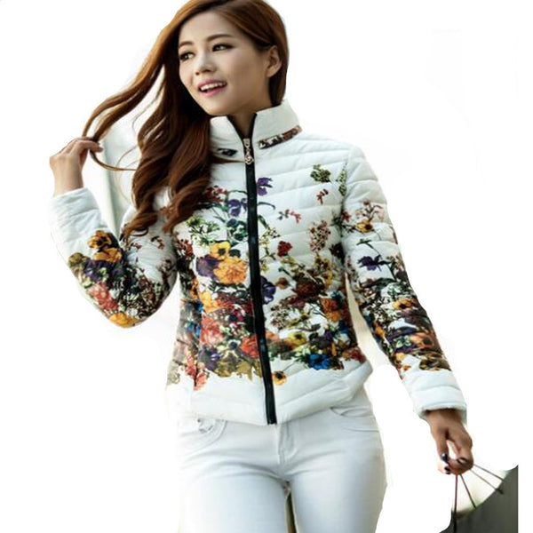 Dmart7deal New Winter Jacket Slim Down Cotton Parkas Womens Flower Coats Plus Size Zippers Outerwear Woman printing Clothing LW229