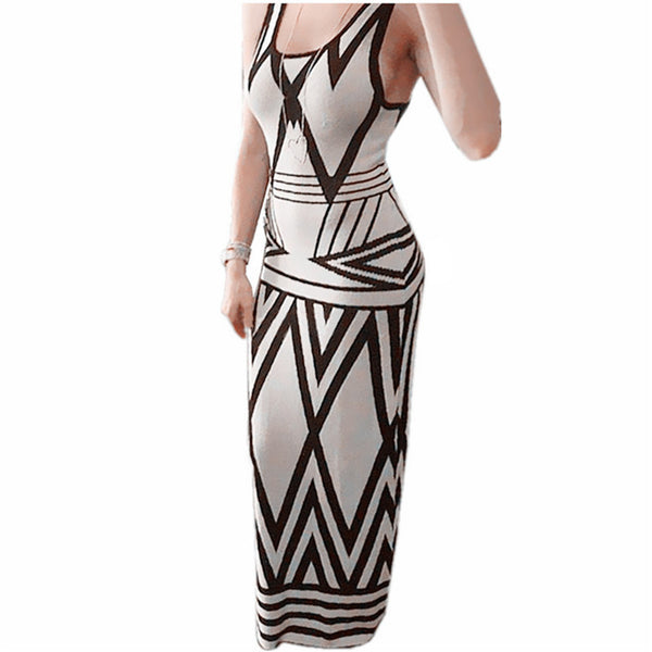 Dmart7dealr Women Bodycon Party Club Dress Lady Casual Geometric Print Sleeveless Maxi Long Dresses Plus Size vestidos