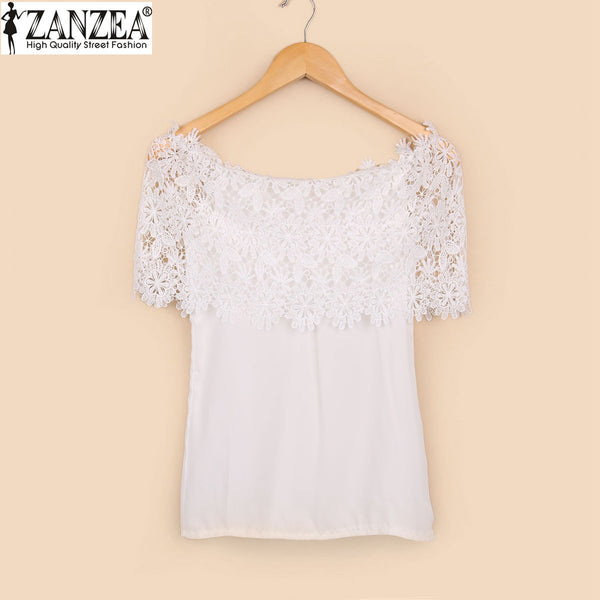 ZANZEA Blusas 2016 Summer Women Sexy Chiffon Lace Stitching Tops Ladies Casual Off Shoulder Short Sleeve Blouse Shirts Plus Size