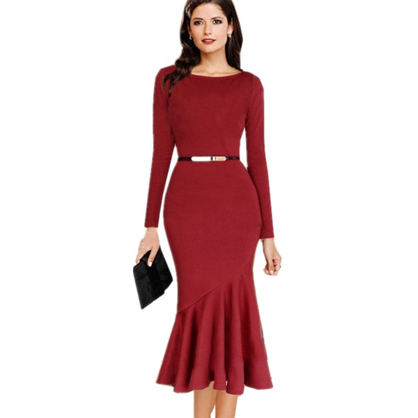 Dmart7deal Dress Elegant Trumpet Sheath OL Lady  Slim Solid  Bodycon  Plus Size