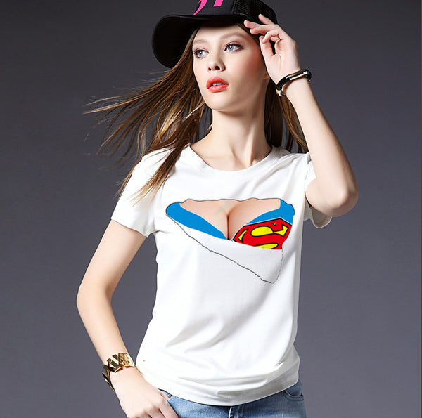 Dmart7deal Creative Women 3D T Shirts White O-Neck Short Sleeve Tops Cute Funny Fake TearBra Print