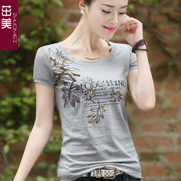 Dmart7dealLace Short Sleeve Female Flower Printed Hollow Out Hot Drilling