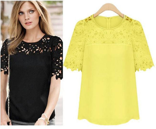 Dmart7dealLace Blouses Sexy Hollow Crochet Chiffon Blusas Feminina Short Sleeve Shirt