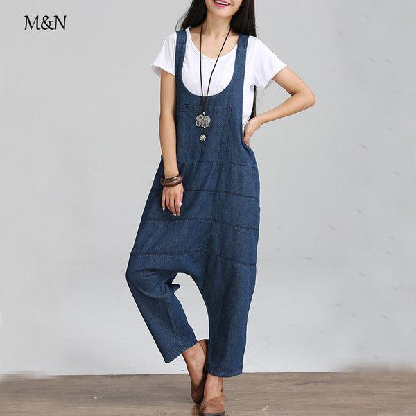 Dmart7deal;Jeans Pants rompers  jumpsuit Denim Plus Size Novelty Trousers Harem