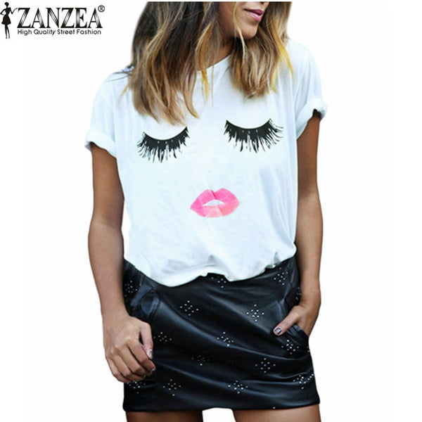 Dmart7dealWomen Elegant Lashes Lip Print T Shirt Ladies Casual Simple O Neck White Tee Tops Blusas Plus Size