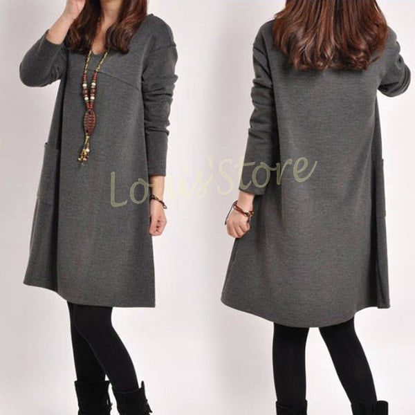 Dmart7deal Korean Style Dress Long Sleeve Loose Pockets Plus Size Cotton