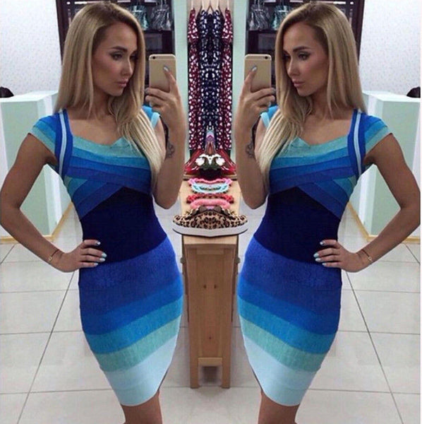 Dmart7dealGradient Slim Bandage Bodycon Dress Sleeveless V Neck Plus Size Russia