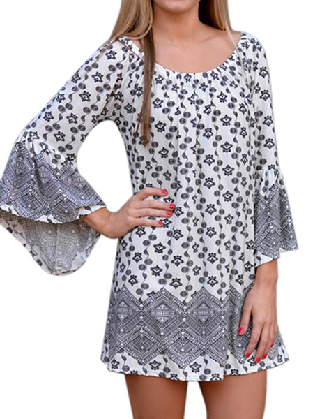 Dmart7deal Bohemian Summer Style Women Half Sleeve Slash Neck Casual Fashion Print Mini Sexy Beach Dresses Plus Size STQ02