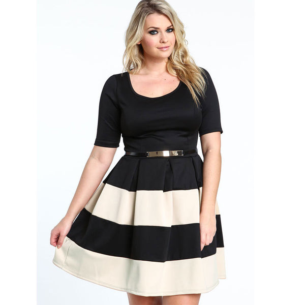 Dmart7dealEurope America Plus Size Pleated Short-Sleeved Striped Dress Mini Jupe