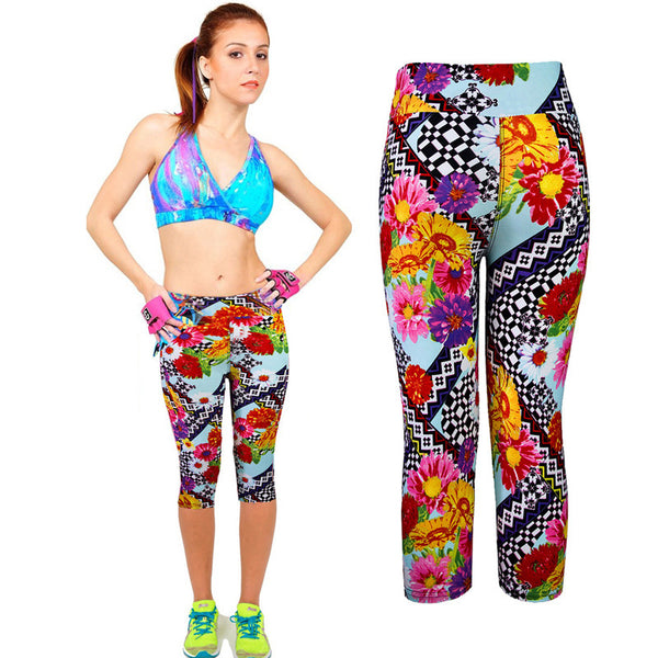 Dmart7deal1PC High Waist Fitness pants Printed Stretch Cropped Leggings trousers Plus size