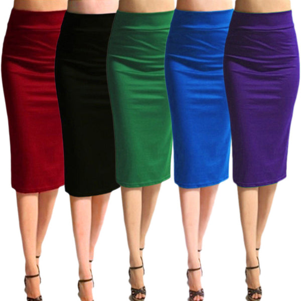 Dmart7deal;High Waist Pencil Skirts Plus Size Bandage Office Midi Skirt